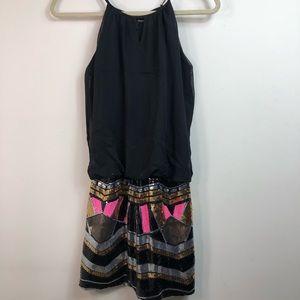 Sequin black mini dress, Pink gold black silver